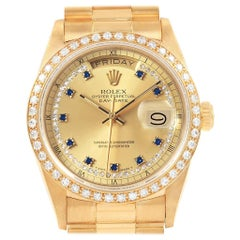 Rolex President Day-Date Yellow Gold String Diamond Sapphire Watch 18048
