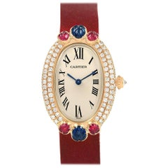 Cartier Baignoire Tutti Frutti Yellow Gold Ruby Sapphire Diamond Watch