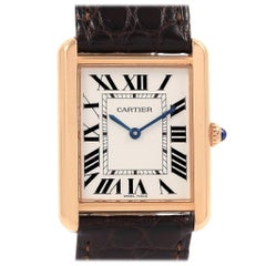 Cartier Tank Solo Rose Gold Steel Brown Strap Men's Watch W5200025