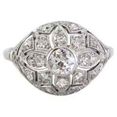 1920s French Platinum Diamond Ring