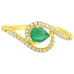 0.30 Carat Natural Pear Emerald Solid Gold Ring with 34 Microset Bright Diamonds