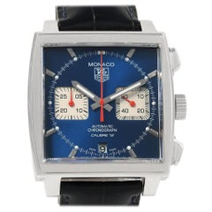 TAG Heuer Monaco Calibre 12 Blue Dial Black Strap Men's Watch CAW2111
