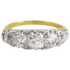 Platinum 18 Carat Yellow Gold Victorian G-H Color Diamond Half-Hoop, circa 1900