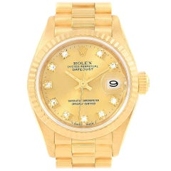 Rolex President Datejust 26 Diamond Dial Yellow Gold Ladies Watch 69178