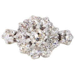 Old European Cut Early 20th Century English Diamond Daisy Cluster