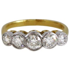 Edwardian 1920s 18 Carat I-J Colour Diamond 5-Stone