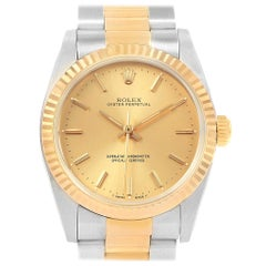 Rolex Midsize Yellow Gold Steel Oyster Bracelet Ladies Watch 67513