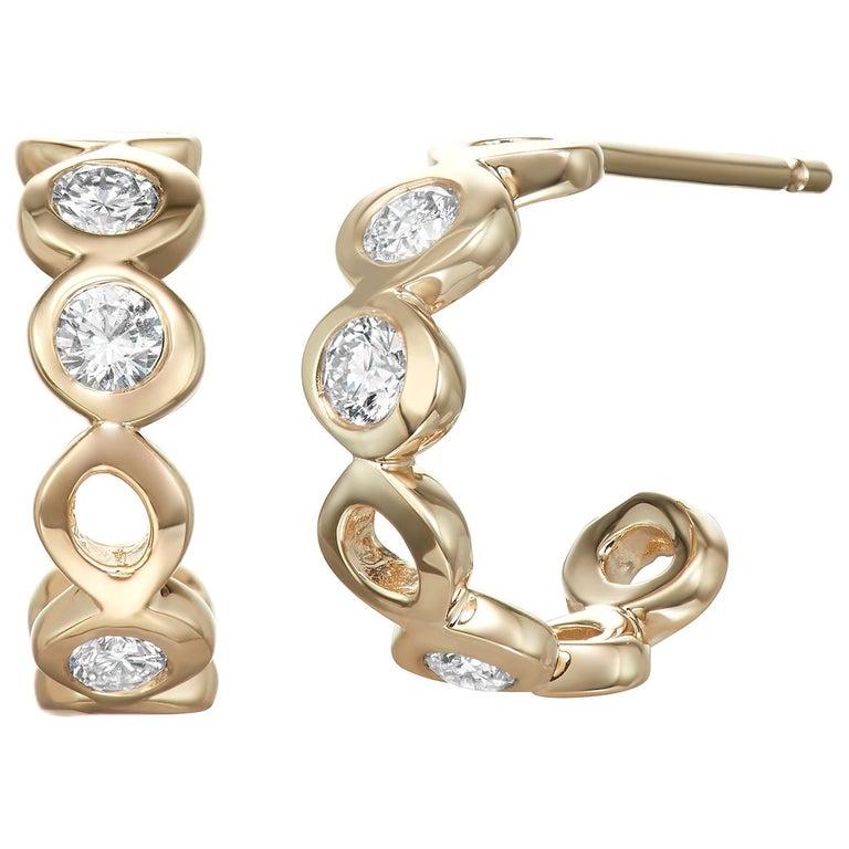 Diamond 0.32 Carat 14 Karat Yellow Gold Huggie Earrings For Sale