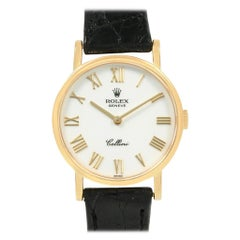 Rolex Cellini Classic Yellow Gold Black Strap Ladies Watch 5109