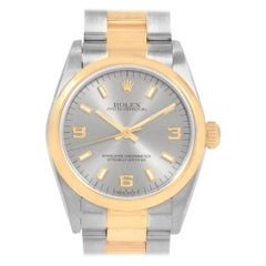 Rolex Midsize Slate Dial Yellow Gold Steel Ladies Watch 77483