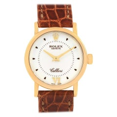 Rolex Cellini Classic 18 Karat Yellow Gold Brown Strap Ladies Watch 6110