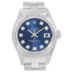 Rolex Datejust Steel White Gold Blue Diamond Dial Ladies Watch 79174