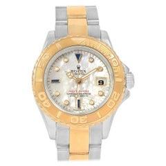 Rolex Yachtmaster 18K Yellow Gold Steel MOP Sapphire Ladies Watch 169623