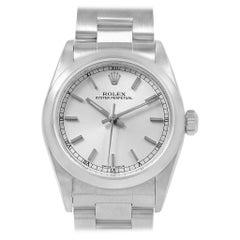 Rolex Midsize Silver Dial Smooth Bezel Steel Ladies Watch 77080