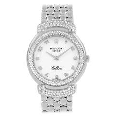 Rolex Cellini Cellissima White Gold Diamond Ladies Watch 6673 Box Papers