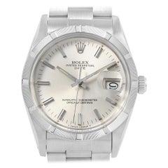 Rolex Date Silver Dial Oyster Bracelet Steel Vintage Men's Watch 15010