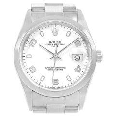 Rolex Date White Arabic Dial Smooth Bezel Steel Men's Watch 15200 Box