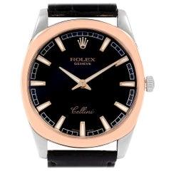 Rolex Cellini Danaos 18 Karat White and Rose Gold Black Dial Watch 4243