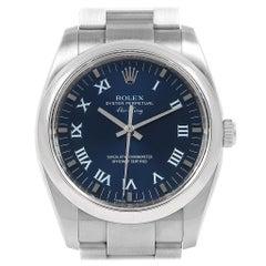 Rolex Air King 34 Blue Roman Dial Domed Bezel Men's Watch 114200