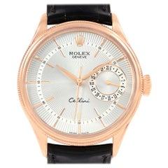 Rolex Cellini Date 18 Karat Everose Gold Silver Dial Automatic Watch 50515