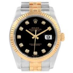 Rolex Datejust 36 Steel Yellow Gold Diamond Men's Watch 116233 Box Card
