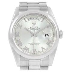 Rolex President Day-Date Platinum Glacier Blue Roman Men's Watch 118206