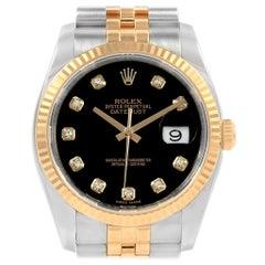 Rolex Datejust Steel Yellow Gold Black Diamond Dial Men's Watch 116233