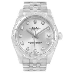 Rolex Datejust Midsize 31 Steel Diamond Ladies Watch 178344 Box Card