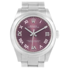 Rolex Oyster Perpetual Midsize 31 Red Grape Dial Ladies Watch 177200