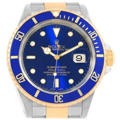 Rolex Submariner Blue Dial Bezel Steel Yellow Gold Men's Watch 16613
