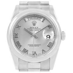 Rolex President Day-Date 18 Karat White Gold Roman Dial Men's Watch 118209