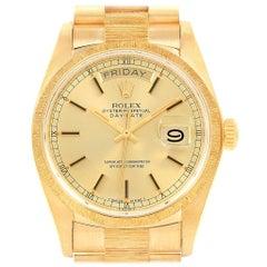 Rolex President Day-Date 36 Yellow Gold Bark Men's Watch 18078 Box