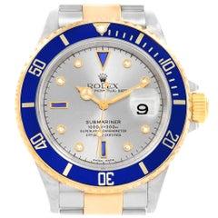 Rolex Submariner Steel Gold Slate Diamond Sapphire Serti Men's Watch 16613
