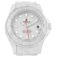 Rolex Yachtmaster 35 Midsize Steel Platinum Dial Bezel Men's Watch 168622