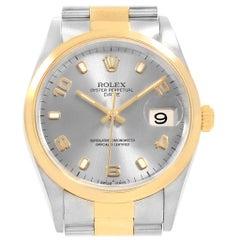 Rolex Date Men's Steel Yellow Gold Slate Dial Men's Watch 15203 Box