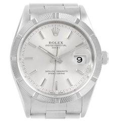 Rolex Date Silver Dial Engine Turned Bezel Steel Men's Watch 15210