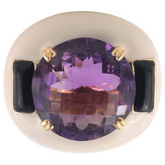 Gold Amethyst and Onyx Ring
