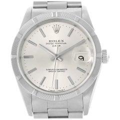 Rolex Date Silver Dial Oyster Bracelet Steel Men's Watch 15210