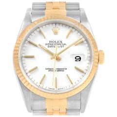 Rolex Datejust Steel 18 Karat Yellow Gold White Roman Dial Men's Watch 16233