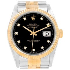 Rolex Datejust 36 Steel Yellow Gold Black Diamond Dial Men's Watch 16233
