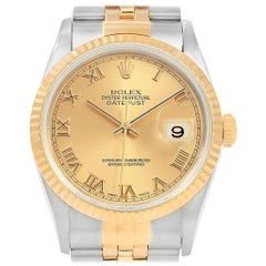 Rolex Datejust Steel Yellow Gold Roman Dial Men's Watch 16233