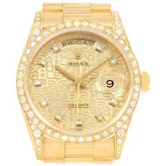 Rolex President Day-Date 36 Yellow Gold Diamond Men's Watch 118388