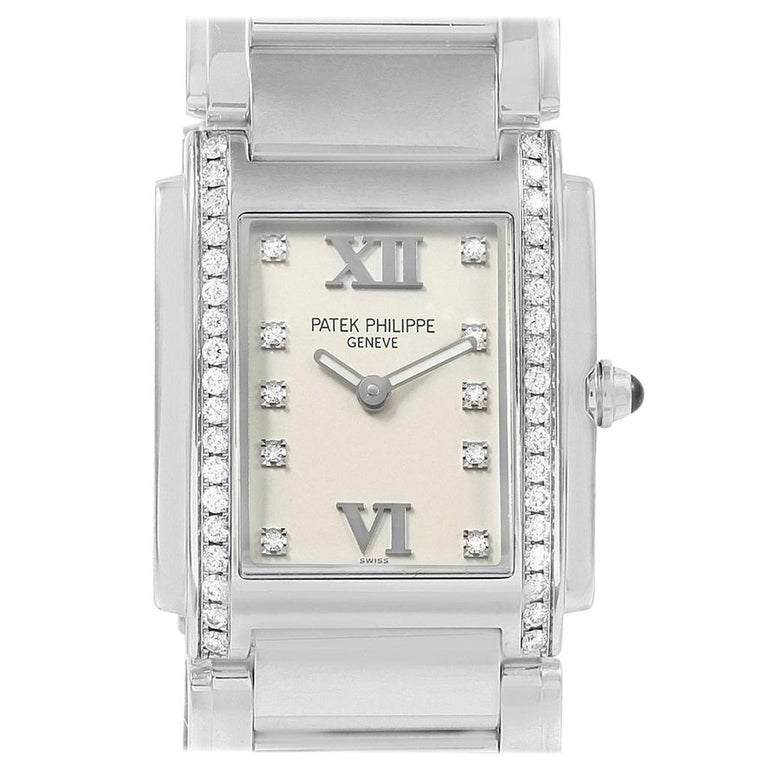 Patek Philippe Twenty-4 Diamond Ladies Quartz Watch 4910/10A-010 For Sale
