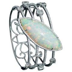 Set in 18K white gold, Marquise Ethiopian Opal & Rose Cut Diamond Cuff Bracelet