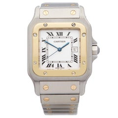 Cartier Santos Galbee Stainless Steel And 18k Yellow Gold 1553