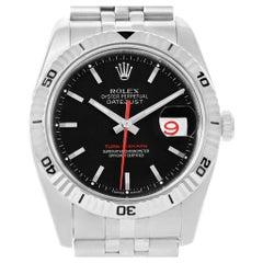Rolex Datejust Thunderbird Turnograph Black Dial Men's Watch 116264