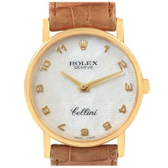 Rolex Cellini Classic Yellow Gold Mother of Pearl Dial Black Strap Watch 5115