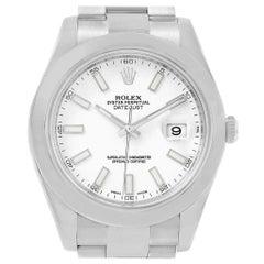 Rolex Datejust II White Dial Oyster Bracelet Steel Men's Watch 116300