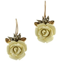 Diamonds, White or Yellow Hard Stones Roses, Gold and Silver Dangle Earrings