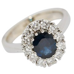 Luxurious Gold Ring with 1.17 Carat Natural Sapphire and 0.63 Carat Diamonds